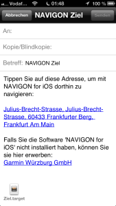 Navigon iPhone App Ziel verschicken
