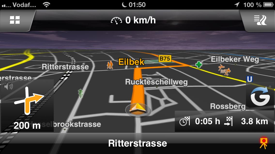 Navigon iPhone App Routenführung