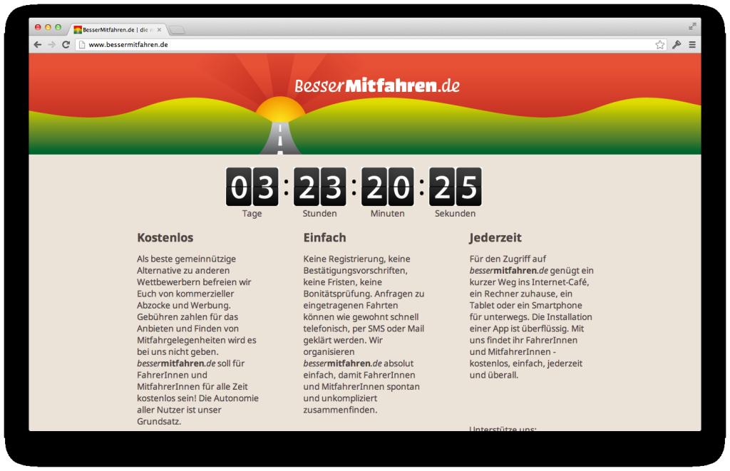 Screenshot Bessermitfahren.de Countdown