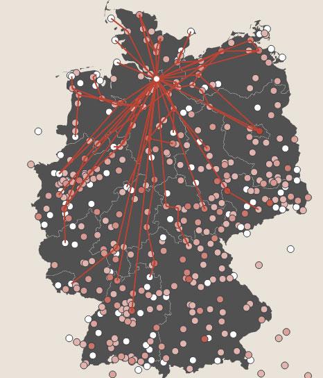 Interaktive Karte auf BesserMitfahren