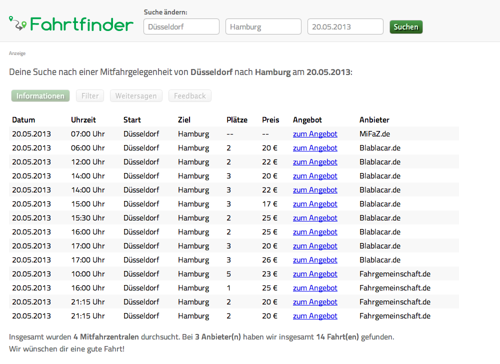 Fahrtfinder Screenshot
